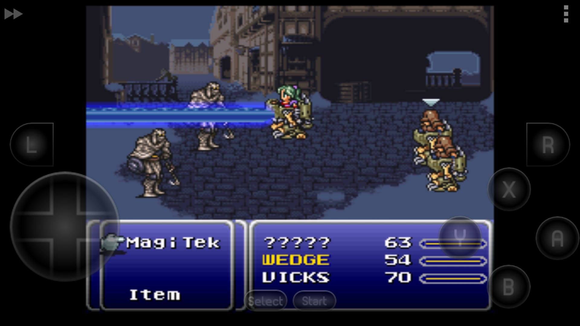 """""""Final Fantasy III (VI)"""" emulated with SNES9x EX"""