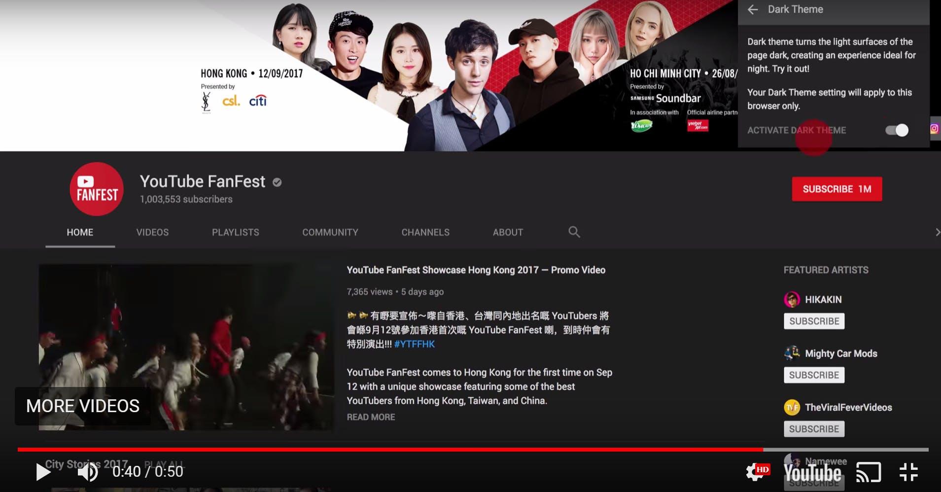 youtube redesign dark mode desktop