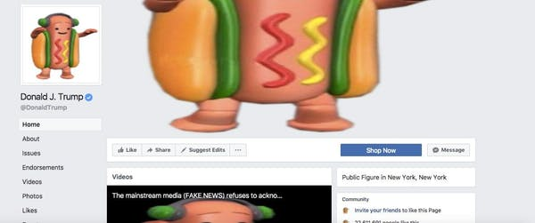 hotdog hell extension on trump's facebook