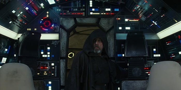 Luke Skywalker enters cockpit of the Millennium Falcon