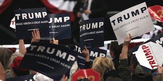 People waving Trump signs