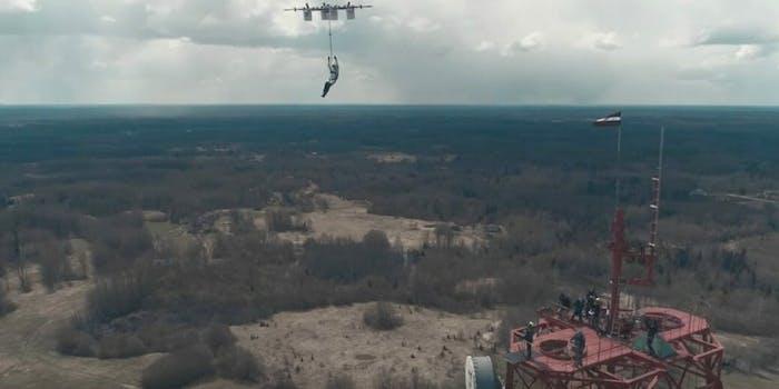 Human drone drop aerones