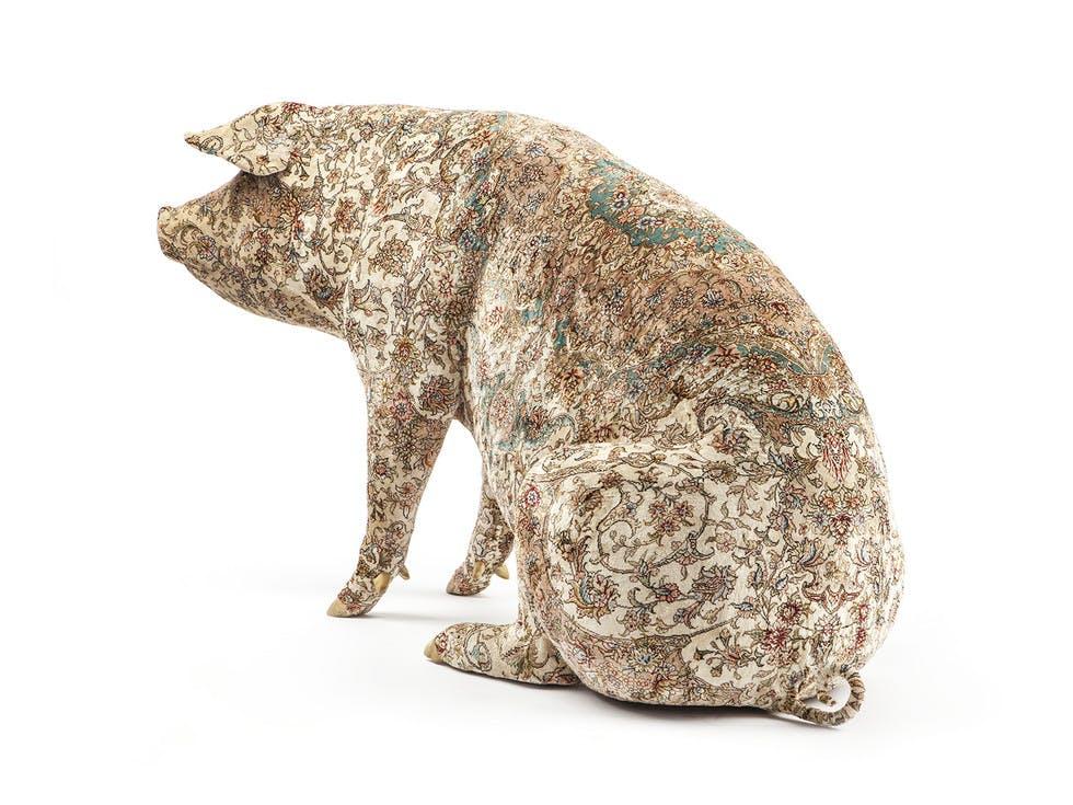 Qom, 2013; Turkish carpet on stuffed pig