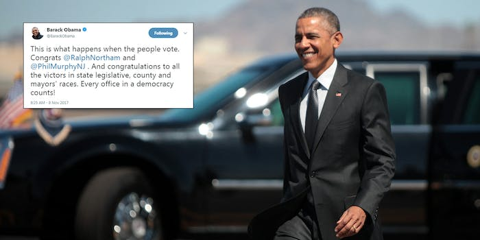 """Former President Barack Obama congratulated the winners of both gubernatorial races that took place on Tuesday and the sweeping success Democrats had in state and local races in a Wednesday morning tweet–telling his followers """"this is what happens when the people vote."""""""
