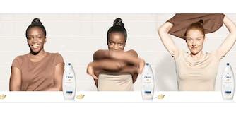 Black woman takes of shirt to become a white woman