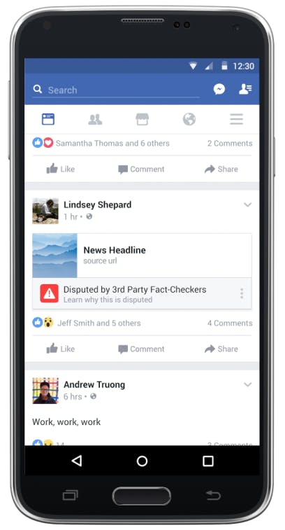 A mockup of the way disputed stories will appear in News Feed.