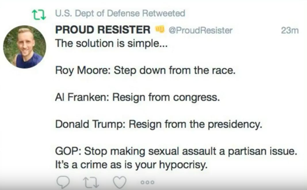 The Pentagon apologizes for mistakingly re-tweeting a message calling for Trump to resign.