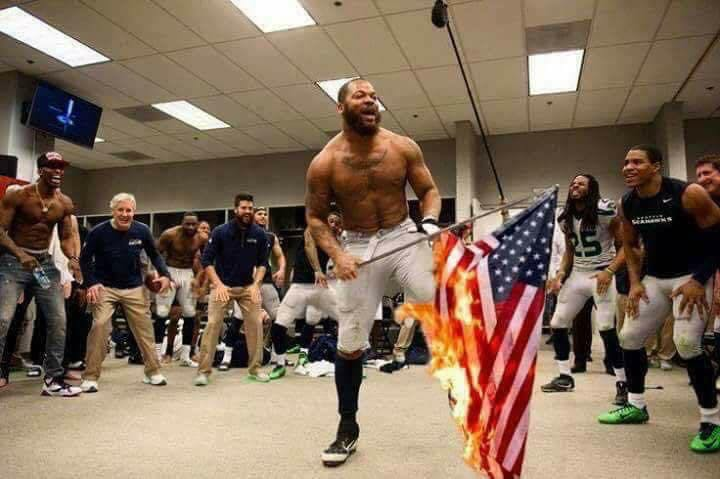 Photoshopped athletes burning flag