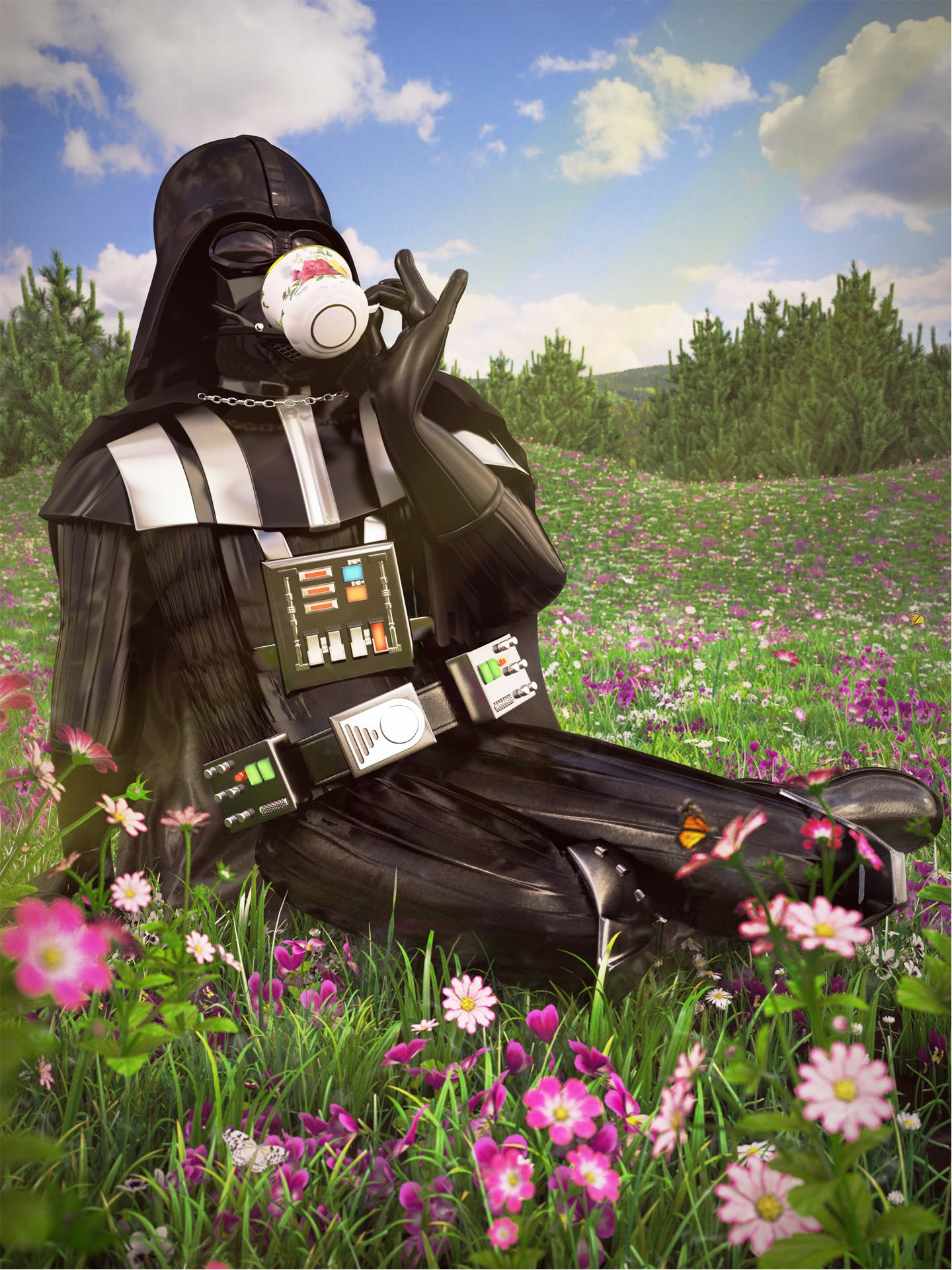 The Old English Rose china pattern really goes with the Durasteel helmet, Darth.