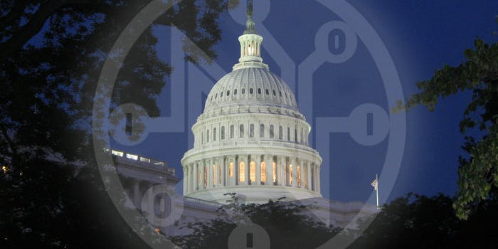 Net Neutrality logo over US Capitol Building