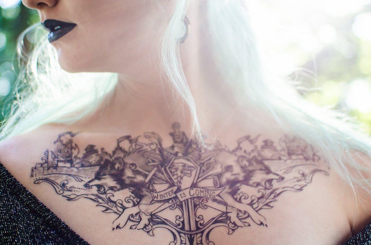 House Stark temporary tattoo.