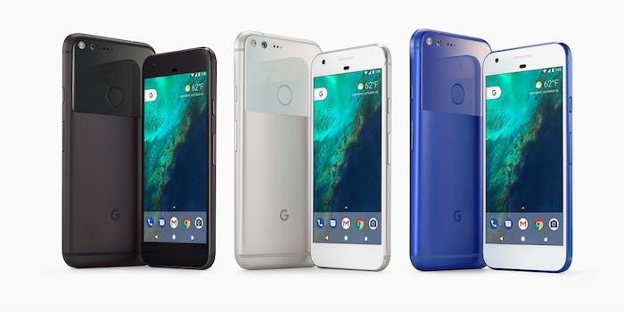 Google Pixel phones in three colors