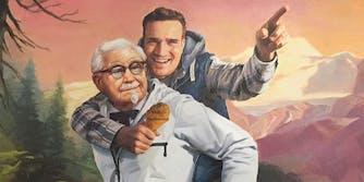Painting of man on KFC's Colonel Sanders' back