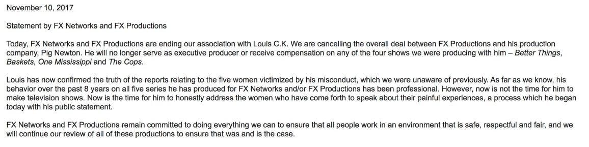 louis ck sexual harassment news