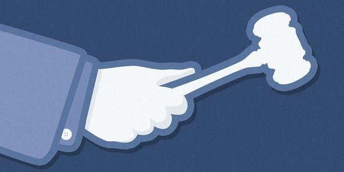 Facebook 'Like' logo holding gavel