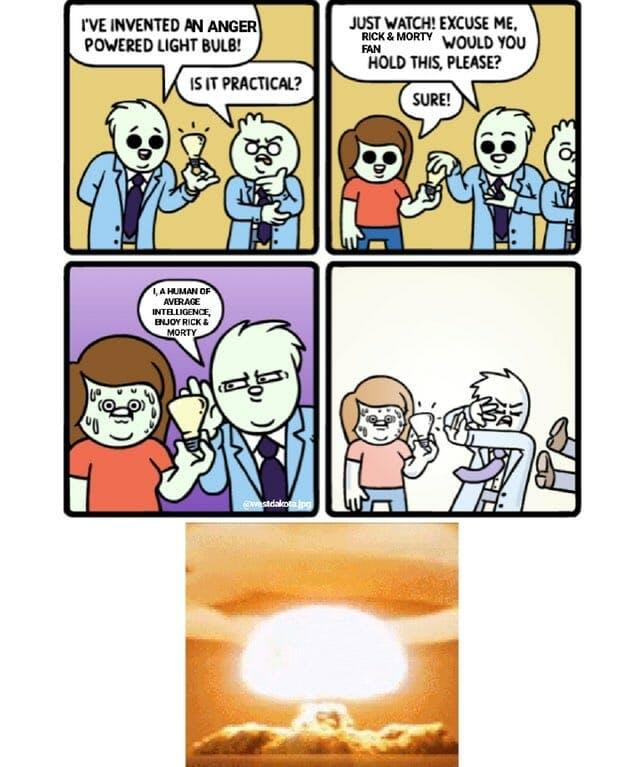 rick and morty fans iq lightbulb meme