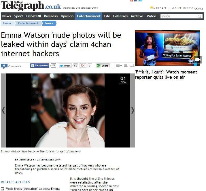 Telegraph Emma Watson article