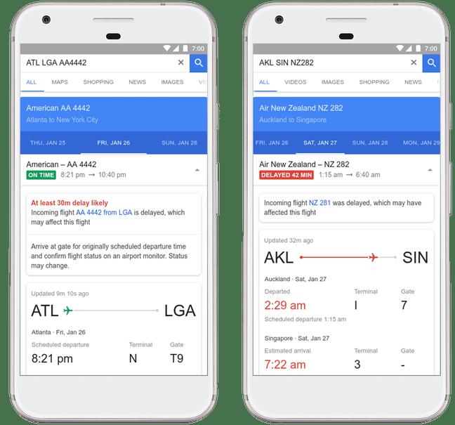 Google Flights screengrabs on Android