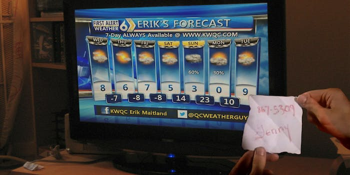 Hands holding Jenny's 867-5309 number next to Erik's 7 day weather forecast