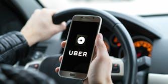 uber ride-hailing app on smartphone