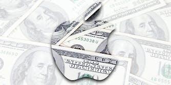 Apple logo in $100 bills