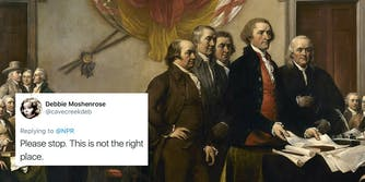 Trump supporters responding to NPR's Declaration of independence tweets
