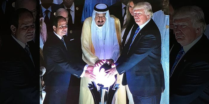 Donald Trump with Saudi King and a glowing orb