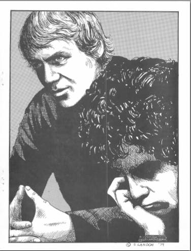Black and white illustration from a Starsky and Hutch zine. Features the two of them side by side, facing front left towards the viewer with intense expressions.