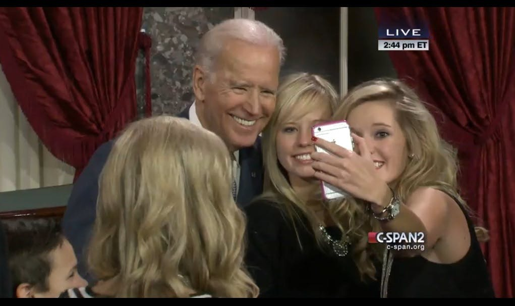 Vice President Biden poses for a selfie with the daughters of Sen. Steve Daines (R-Mont.)