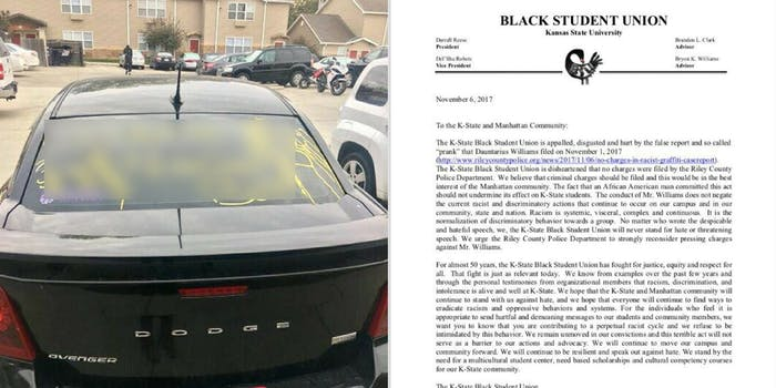 Fake racist graffiti tagged on a car next to a letter from the Kansas State Black Student Union
