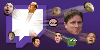 Twitch emotes : Emotes bursting from Twitch logo