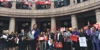 Danielle Skidmore, an engineer and transgender woman, speaks at a rally against the Texas bathroom bill SB6.