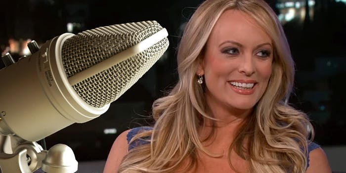 Microphone in front of Stormy Daniels