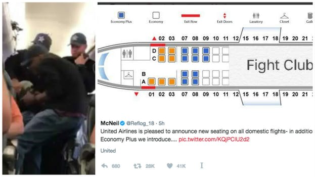 united airlines dragging video memes: plane shows seating renamed fight club