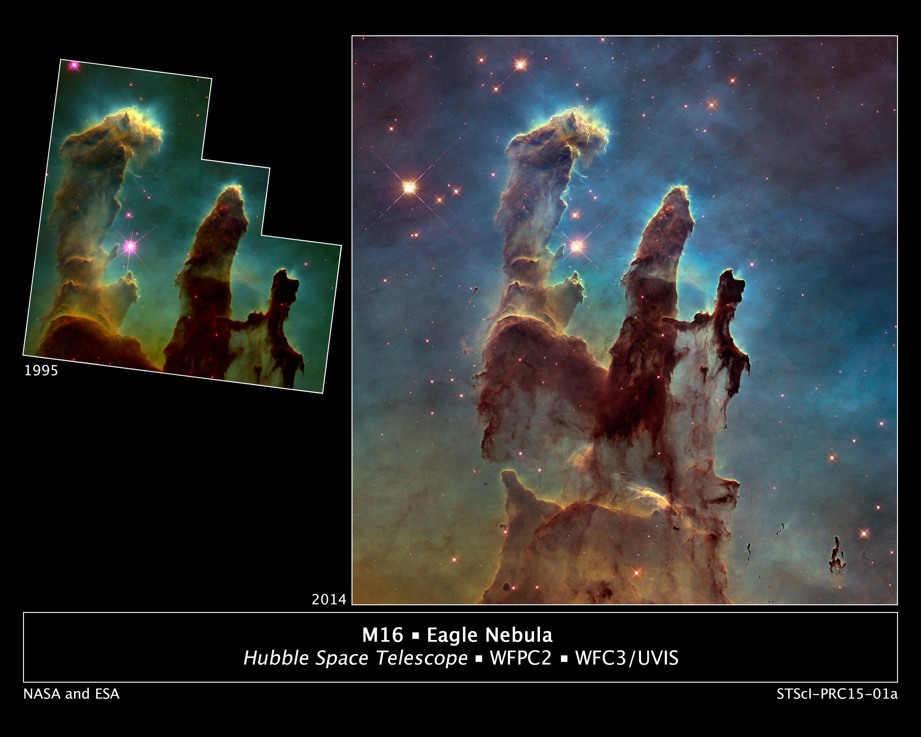 """NASA caption: Astronomers using NASA's Hubble Space Telescope have assembled a bigger and sharper photograph of the iconic Eagle Nebula's """"Pillars of Creation"""" (right); the original 1995 Hubble image is shown at left."""