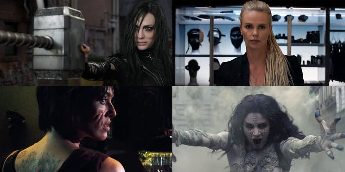 Hela from Thor: Ragnarok, Cipher from Fate of the Furious, Ma-Ma from Dredd, and Ahmanet from The Mummy