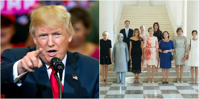 Trump NATO first gentleman photo