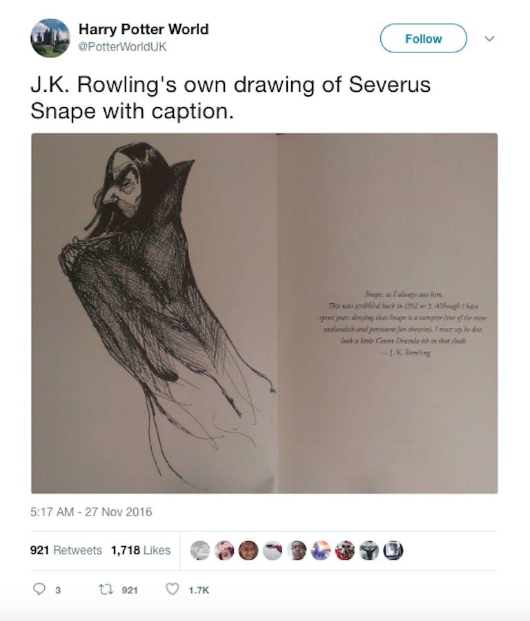 severus snape jk rowling drawing