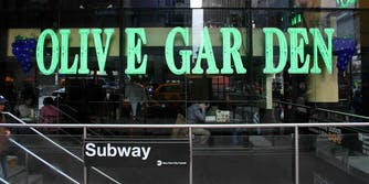 Times Square Olive Garden window sign