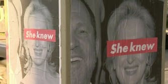 """Posters of Meryl Streep and Harvey Weinstein with the phrase """"she knew"""" over Streep's eyes"""
