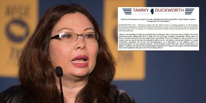 Sen. Tammy Duckworth blasted Trump's transgender military ban in a statement on Thursday.