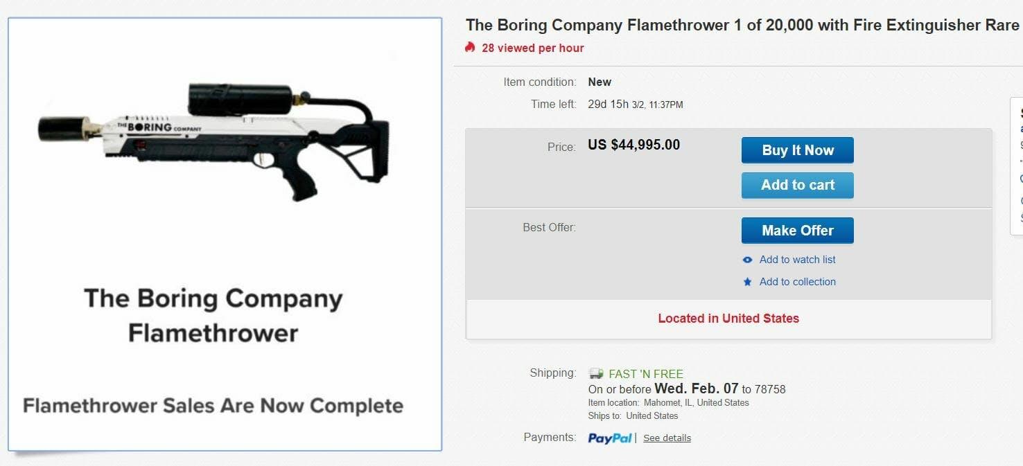 boring company flamethrower ebay listing