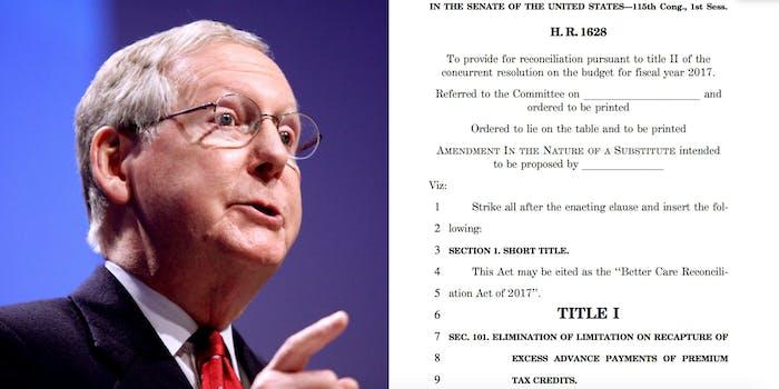 Mitch McConnell Senate Healthcare Bill