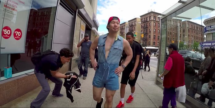 YouTuber QPark walks around New York City for 10 hours in a male romper.