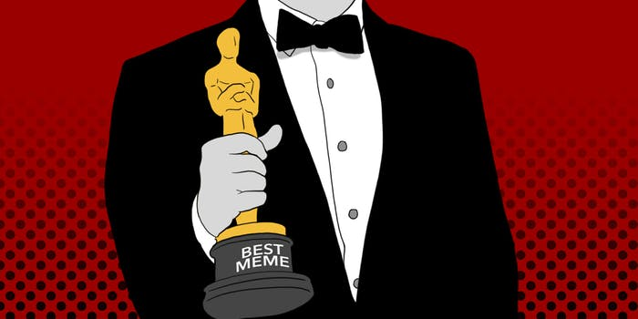 """Man holding """"Best Meme"""" Academy Award statue"""