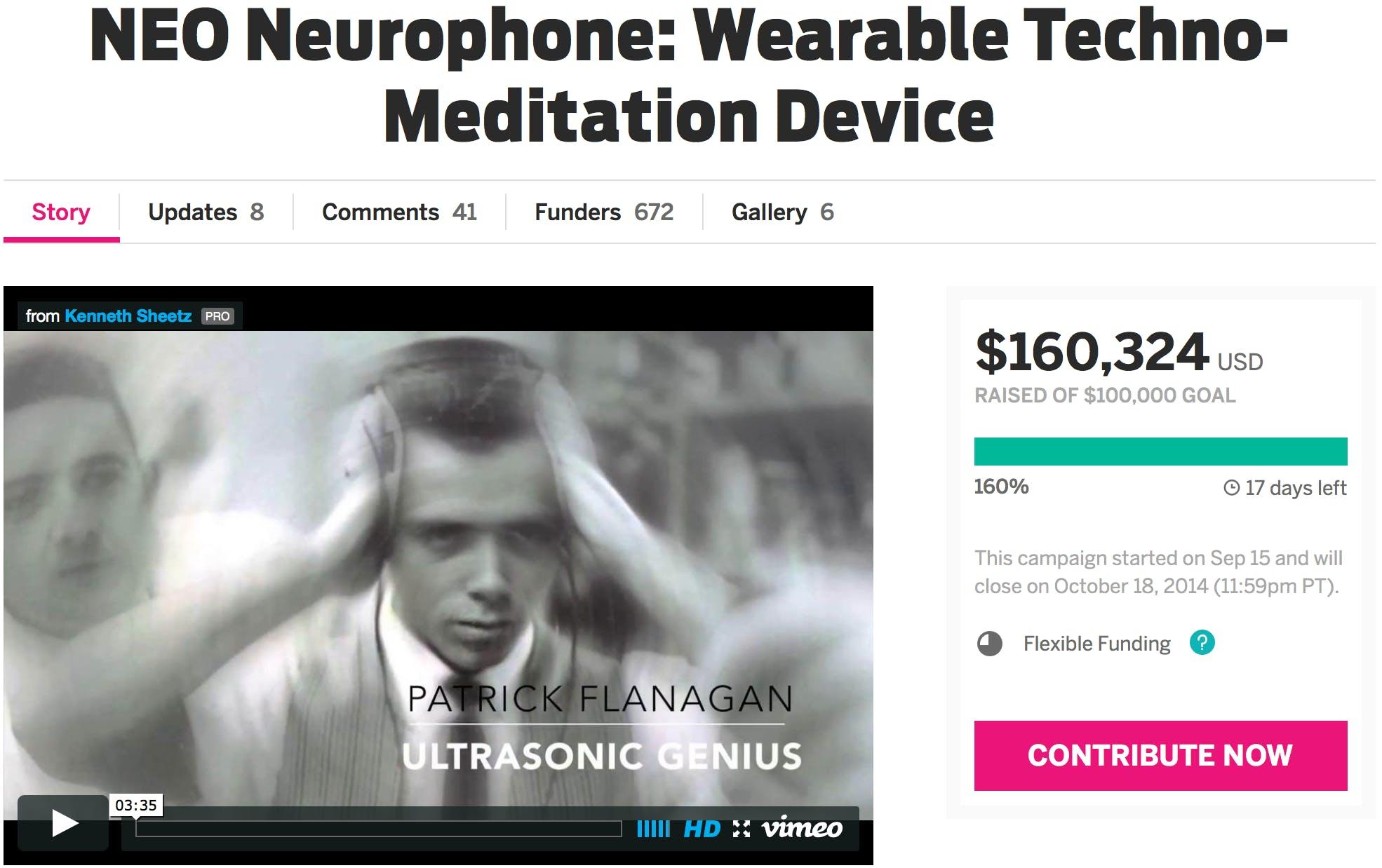 neo neurophone product page indiegogo