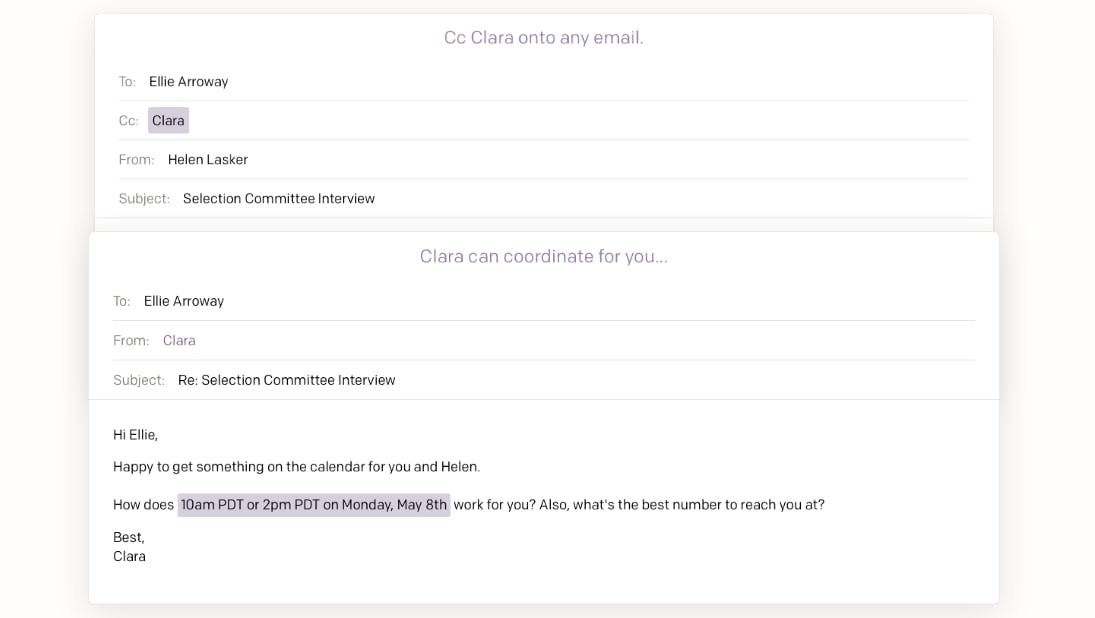 best email apps : Clara Labs screengrab