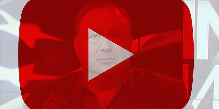 Alex Jones photo with YouTube logo overlayed