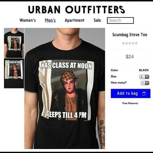 scumbag steve meme urban outfitters shirt