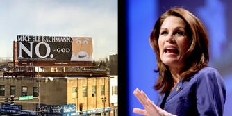 A billboard has popped up in Minnesota depicting 'God' telling former congresswoman Michele Bachmann not to run for Senate later this year.